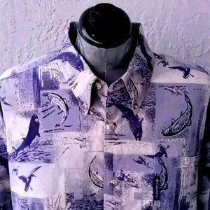 Columbia Fish Print Outdoorsman's Cotton Shirt L/S